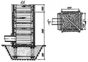 Односекционный деревянный водосбросной колодец