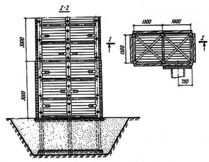 Двухсекционный деревянный водосбросной колодец