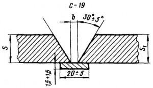 Стыковое соединение со скосом кромок, одностороннее на остающейся  цилиндрической подкладке
