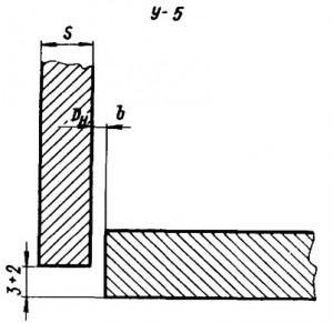 Угловое соединение фланца или кольца с трубой без скоса кромок, двустороннее