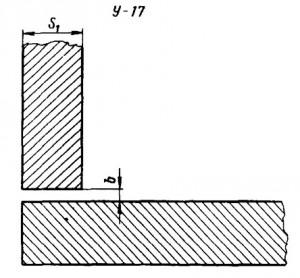 Угловое соединение ответвительного штуцера с трубой без скоса кромок, одностороннее