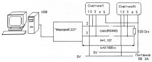 Схема подключения счётчиков «Меркурий 200»