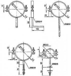 Крепления для канализационных труб. Черчёж