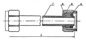 конец подводки с наплавленным буртом, накидная гайка из латуни и детали соединений: