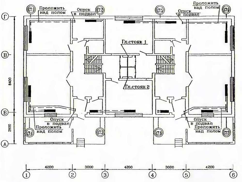 схема отопления двухтрубная
