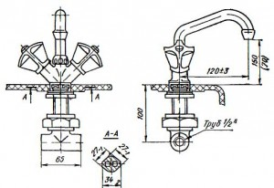 Смеситель для умывальника центральный См Ум-ВКСЦ для установки на   полочке   умывальника