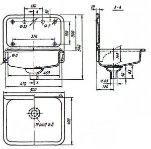 Раковина стальная эмалированная РСТО-1
