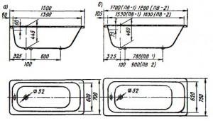 Ванны чугунные эмалированные прямобортные ПВ-0 (а), ПВ-1 и ПВ-2