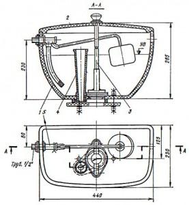 Смывной низко располагаемый керамический бачок