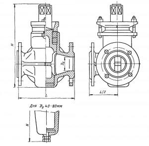 Кран трехходовой фланцевый сальниковый
