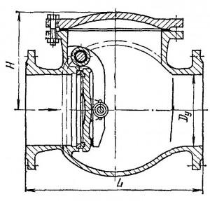 Клапан обратный поворотный фланцевый