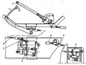 Ручной тормоз скрепера ДЗ-1Ш (схема привода) .