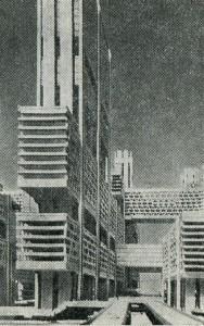 Проект реконструкции района Цукидзи в Токио. 1960 г. Архитектор. К. Танге
