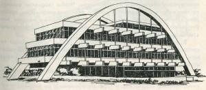 Здание с этажами, подвешенными к мощным железобетонным аркам