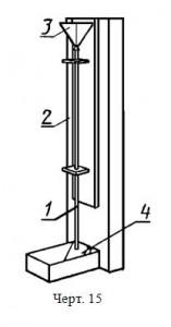 Устройство, состоящее из стеклянной трубки 1 длиной (1800±1) мм и внутренним диаметром (22±3) мм, прикрепленной к деревянному штативу 2, конусообразной воронки 3, наружный диаметр стержня которой должен быть меньше внутреннего диаметра трубки