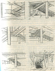 Формы и приёмы размещения железобетонных лестниц
