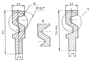 Нарезаемая часть ключа толщиной 1,4 мм может быть симметрична или асимметрична относительно оси ключа.