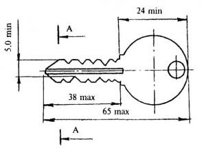 Ключ для цилиндрового механизма с односторонней нарезкой секторов, тип 3Ц1
