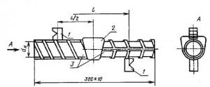 искатели; 2 - сварное соединение горизонтальных стержней (испытательный образец,  выполненный в инвентарной форме)