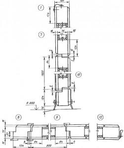Форма и размеры сечений деталей ворот с калиткой