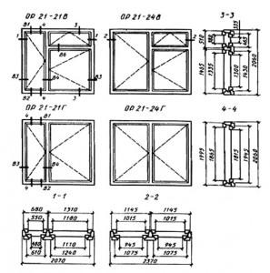 Конструкция, форма, основные размеры и марки окон и балконных дверей общественных зданий