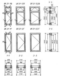 Окна и балконные двери деревянные с двойным остекленением для жилых и общественных зданий. Типы, конструкция и размеры