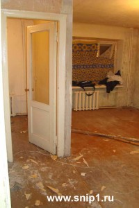 Вид из коридора на комнату и дверь кухни