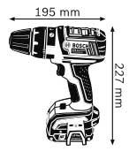 Габаритные размеры дрель-шуруповёрт 14,4 В с аккумулятором Compact   GSB 14,4 V-LI Professional