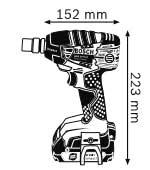 Габариты, Аккумуляторный ударный гайковёрт 18 В с аккумулятором Compact GDS 18 V-LI Professional