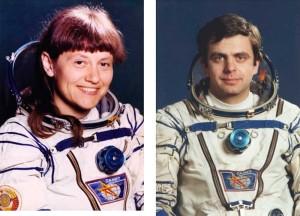 С.Савицкая и В.Соловьев космонафты