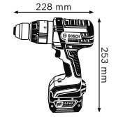 Аккумуляторная ударная дрель-шуруповёрт 14,4 В GSB 14,4 VE-2-LI Professional, Габаритные размеры