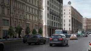 Театральный проезд, улицы Моховая, Манежная, Охотный Ряд после озеленения