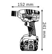Габариты Аккумуляторный ударный гайковёрт 18 В GDS 18 V-LI Professional