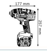 Габариты, Аккумуляторный ударный гайковёрт 14,4 В GDR 14,4 V-LI MF Professional