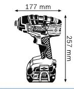 Габариты, Аккумуляторный ударный гайковёрт 18 В GDR 18 V-LI MF Professional