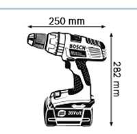 Габариты, Аккумуляторная дрель-шуруповёрт 36 В GSR 36 V-LI Professional