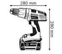 Габариты Аккумуляторная ударная дрель-шуруповёрт 36 В GSB 36 V-LI Professional