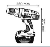 Габариты, Аккумуляторная дрель-шуруповёрт с аккумулятором Compact 36 В  GSR 36 V-LI Professional