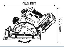 Габариты, Аккумуляторная циркулярная пила 36 В GKS 36 V-LI Professional