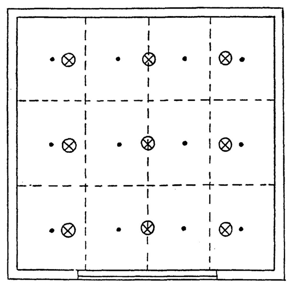 Расположение контрольных точек при измерении минимальной освещенности помещения от светильников, принимаемых за