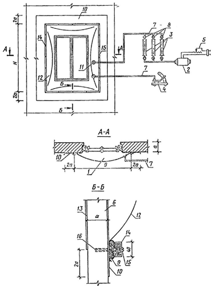 Схема установки для определения сопротивления воздухопроницанию ограждающих конструкций
