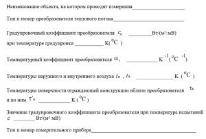 Форма записи результатов измерения тепловых потоков