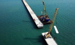 на строительстве Керченского моста