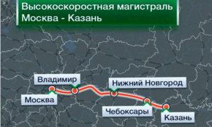 Протяженность линии ВСМ «Москва — Нижний Новгород — Казань» составит 770 км