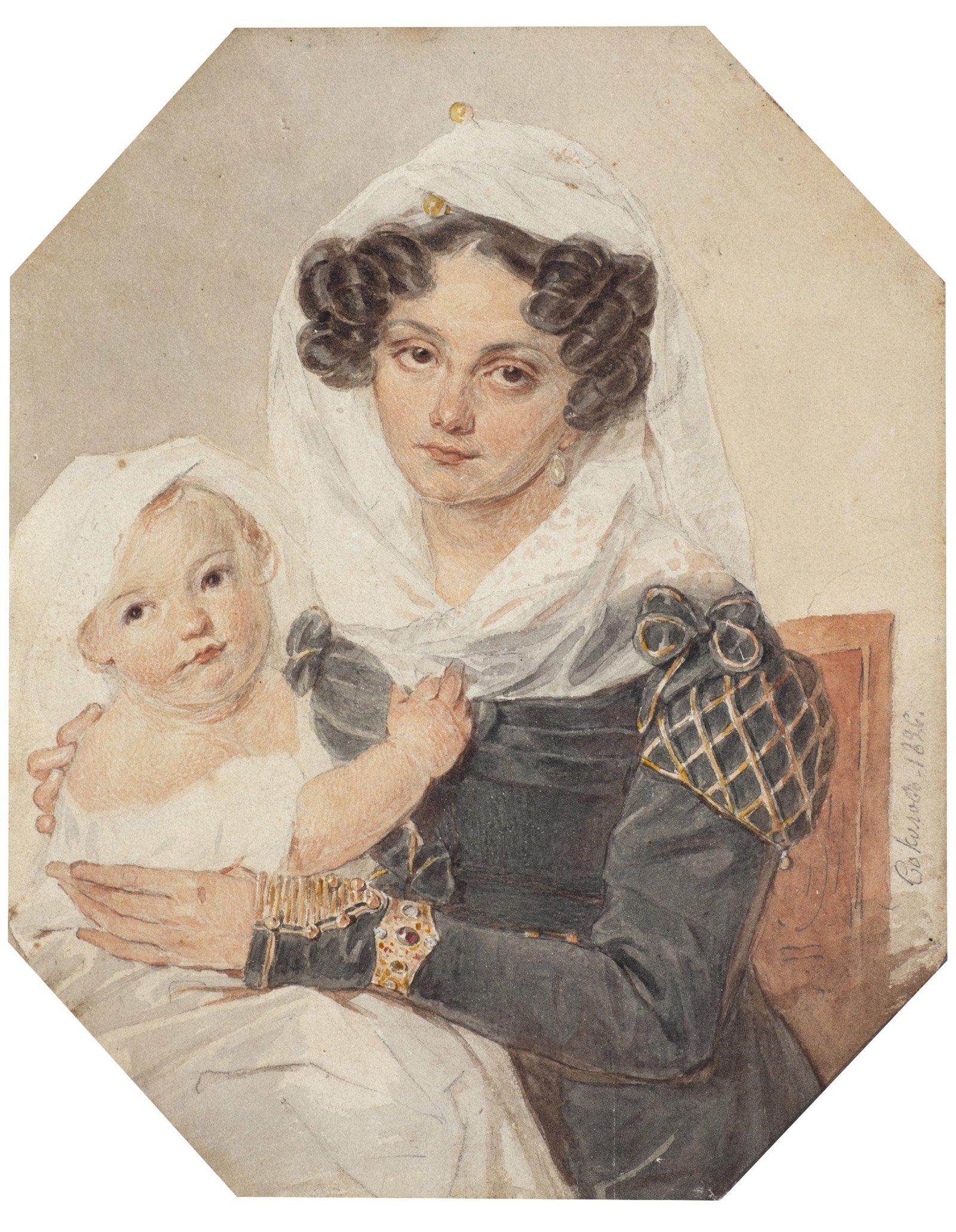 П. Соколов. Портрет княгини М.Н. Волконской с сыном Николаем. 1826 год