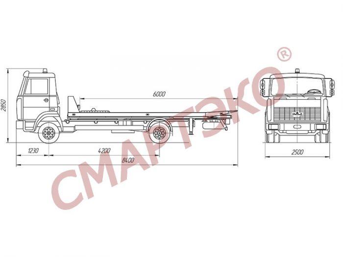 Эвакуатор со сдвижной платформой МАЗ-437041