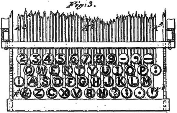 QWERTY-раскладка клавиш пишущей машинки, изображенная в патенте США № 207 559, выданном 27 августа 1878 года Кристоферу Шоулзу