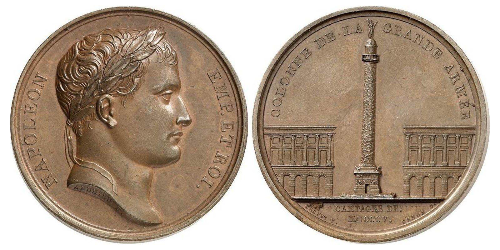 Памятная медаль, посвященная кампании 1805 года, с Вандомской колонной и головой Наполеона в лавровом венке