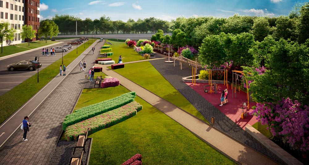 Ландшафтный парк в ЖК «Румянцево-Парк» заиграл новыми красками
