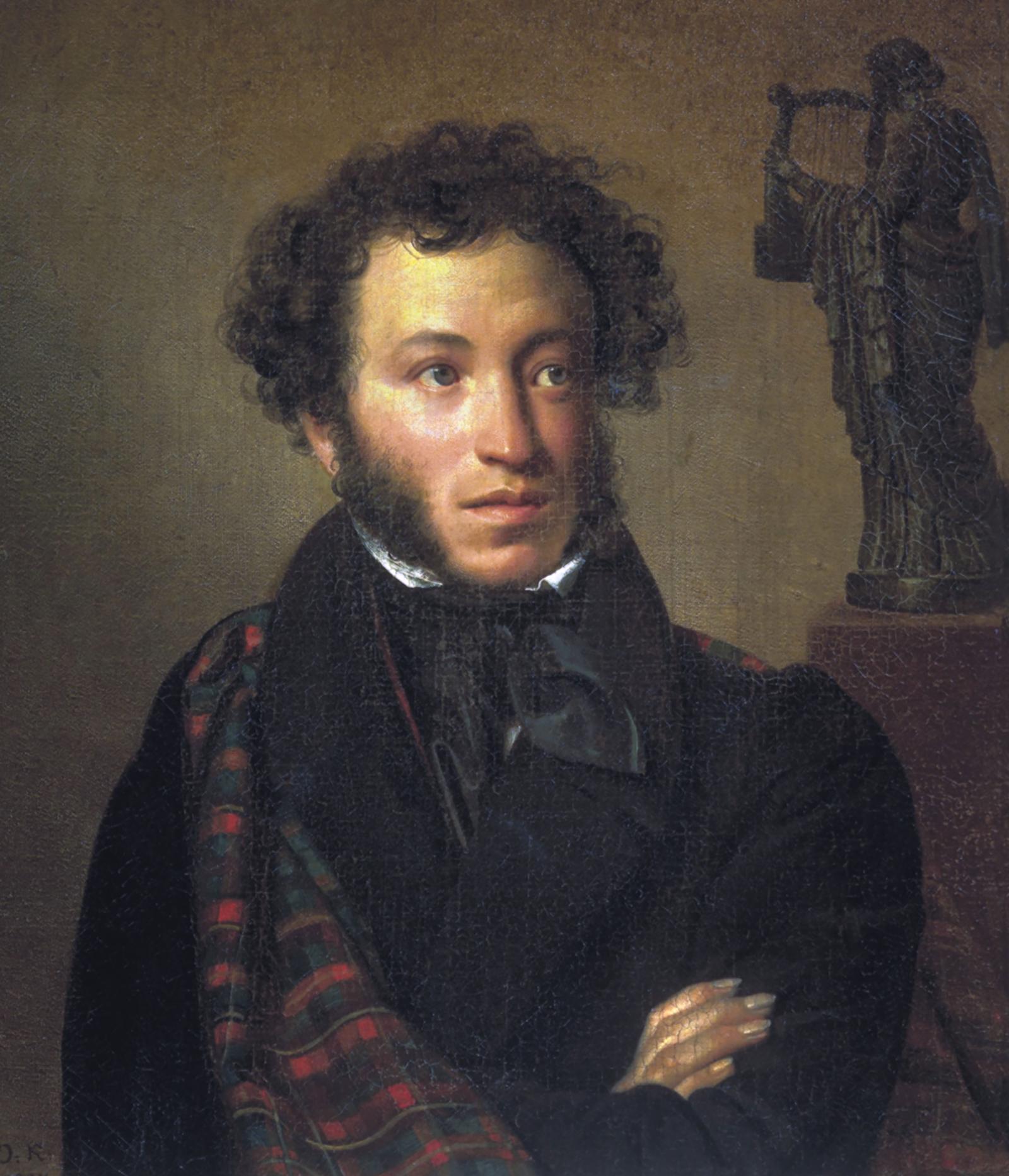 О. Кипренский. Портрет А. Пушкина. Фрагмент. 1827 год